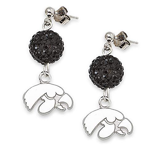 Lex & Lu LogoArt Sterling Silver Unversity Of Iowa Crystal Ovation Earrings