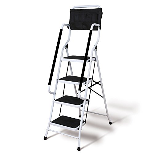 Safety 4 Step Ladder - Folding 4-Step Safety Step Ladder - Padded Side Handrails - Attachable Tool Pouch Caddy