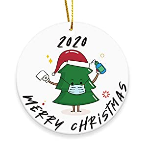 Best Epic Trends 41AsuLWf3EL._SS300_ 2020 Merry Christmas Ornaments Gift, Cute Chrstmas Tree - Xmas Tree Ornament Hanging Accessories - 3 INCH Round Ceramic…