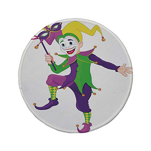 Non-Slip Rubber Round Mouse Pad,Mardi Gras,Cartoon Style Jester in Iconic Costume with Mask Happy Dancing Party Figure,Multicolor,7.87