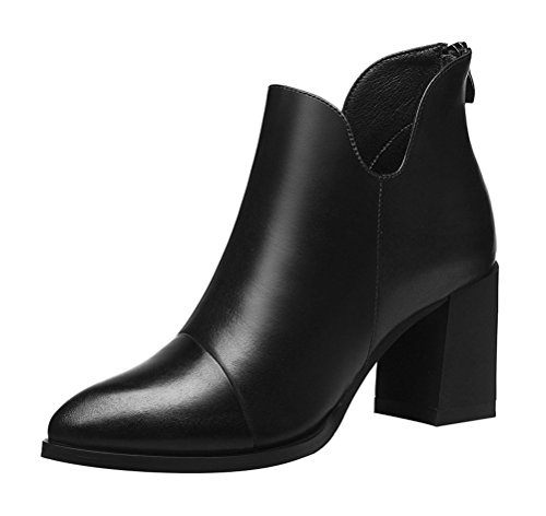 T&Mates Womens Warm Faux Fur Pointed Toe Back Zipper Leather Chunky Heel Ankle Booties