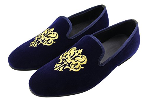 Santimon Uomo Mocassini Smoking Pantofola Ricamo Nobile Handmade Velluto Casual Slip On Scarpe Anchor-blue