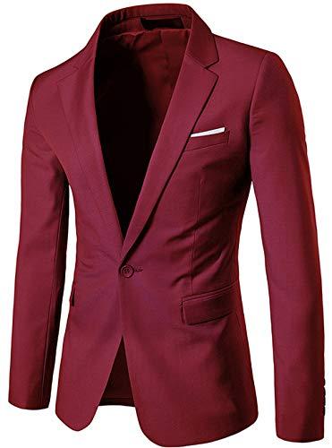 Fit Business Blazer Manteaux Casual Homme Un Premium Solide Classique Z6m6 Slim Outwear Rouge Jacket Vin Thin Mens Veste Combinaison Bouton 0187Ewqw