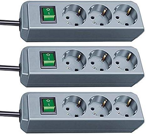 Brennenstuhl Eco-Line 3-fach Steckdosenleiste Steckerleiste mit Kindersicherung, Schalter und 1,5 m Kabel schwarz