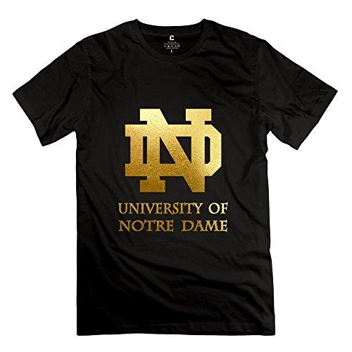 Men's University Of Notre Dame Logo O-neck Tees Size XXL Black
