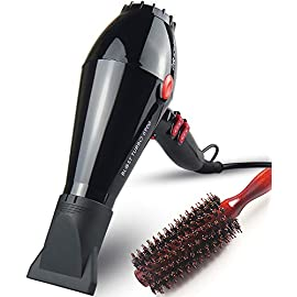 JOHN Ceramic Ionic 2200Watt Powerful Salon Use Blow Dryer Fast Drying Professional Hair Dryer with Boar Bristle Brush AC Motor 2 Concentrator Nozzles Blast Turbo 6900 Glossy Black - 41AsvK5xIWL - JOHN Ceramic Ionic 2200Watt Powerful Salon Use Blow Dryer Fast Drying Professional Hair Dryer with Boar Bristle Brush AC Motor 2 Concentrator Nozzles Blast Turbo 6900 Glossy Black