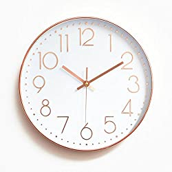 Foxtop Modern Large Decorative Silent Non-ticking Wall Clock with Sweep Quartz Movement - 12 Universal Indoor Outdoor Wall Clocks - Silver Plastic Frame Glass Cover (Rose Gold)