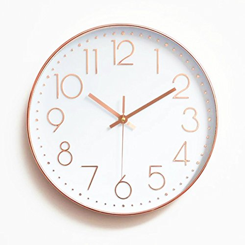 Gold Silver Clock (Foxtop Modern Large Decorative Silent Non-ticking Wall Clock with Sweep Quartz Movement - 12