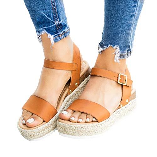 Mafulus Womens Espadrilles Platform Sandals Wedge Ankle Strap Studded Open Toe Summer Sandals ()