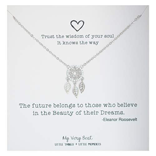 My Very Best Sparkling Dream Catcher Necklace (Silver Plated Brass)