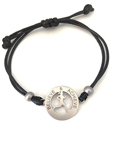 Motivational Mantra Women's Adjustable Bracelet – Inspiration Jewelry Bracelet for Women and Girls – Sporty Runner Girl – Stainless Steel Charm – Great Gift Idea – Bonus Gift Bag - Believe & Achieve -