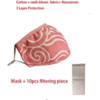 Dustproof Cotton melt-blown nonwoven 3 Layers Protection Face Cover Mouth mask Cotton Washable Mask (1-Pink+10pcsfilter)