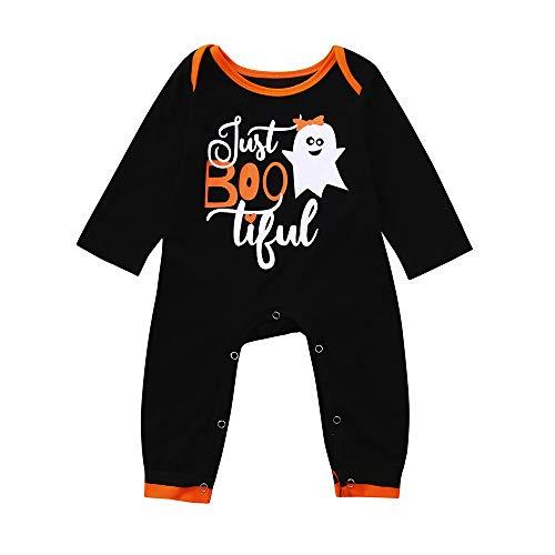 Ragazzi Bambino Pigiama cartone Manica fantasma animato baby Fumetto Outfits Tutina lunga BYSTE Nero Pagliaccetto Neonato Halloween Bodysuit Ragazze YPwxR7Rq8