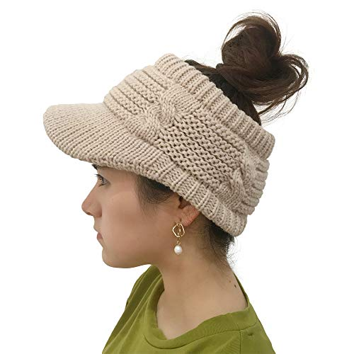 (iLXHD Women Caps Hat Winter Cotton Twist Peaked Knit Wool Hollow Out Multicolor Point Skull Visors)