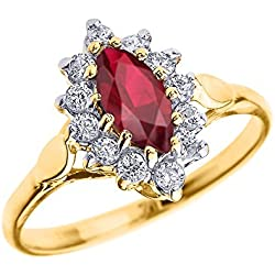 Genuine Ruby and Diamond 10k Yellow Gold Proposal Engagement Ring