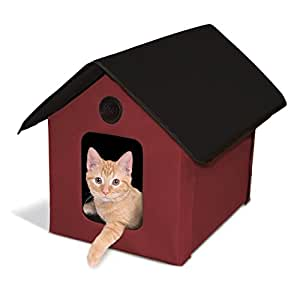 K&H Manufacturing Outdoor Kitty House, 18 x 22 x 17-Inches, Unheated - Barn Red/Black