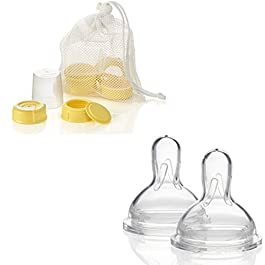 Medela Breastmilk Bottle Spare Parts WITH Three Medium-Flow Wide Base Nipples