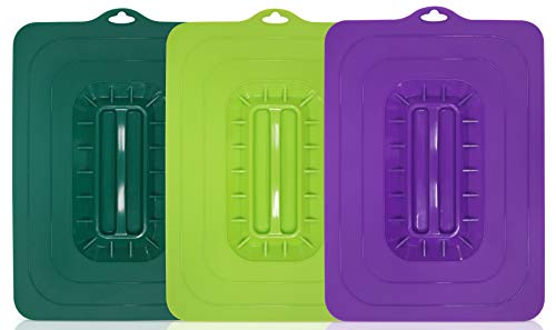 (Maxi-Matic ECL-3016 Rectangular Silicone Suction Lids and Food Covers Fits various sizes of casseroles, baking pans, dishes or containers, Set of 3,)