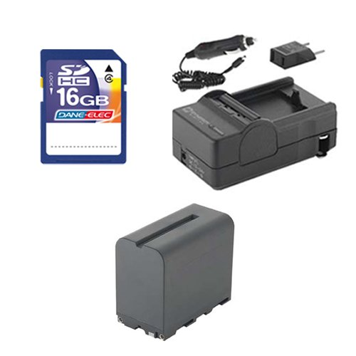 Sony NEX-FS700R Camcorder Accessory Kit includes: SDNPF970 Battery, SDM-105 Charger, SD4/16GB Memory Card by Synergy Digital