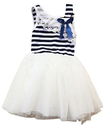 Little Girls Princess Cotton Stripe Bow Lace Sundress Party Dress Skirt