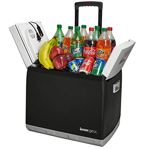 Knox Electric Travel Cooler and Warmer - 47 Quart (60 Cans) Portable Fridge with AC and DC Power Cords for Home, Car and Camping - Pull-Out Handle and Wheels
