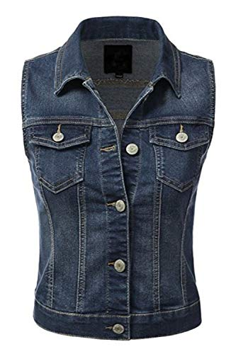 (Fahion Boomy Women's Sleeveless Button Up Jean Denim Jacket Vest (Small, Dark_A))