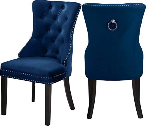 Meridian Furniture 740Navy-C Nikki Dining Chair with Wood Legs, Luxurious Button Tufting, and Chrome Nailhead Trim, 23″ W x 23″ D x 40″ H, Navy, Set of 2