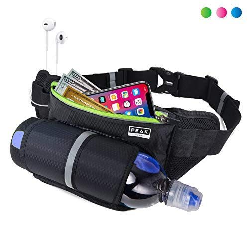 Peak Gear Waist Pack and Water Bottle Belt - New Larger Size - Hydration Fanny Pack for Jogging, Walking or Hiking (Green Zipper)