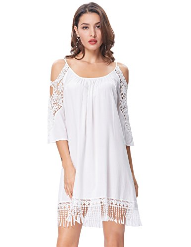 Cute Soft Summer Beach Dress Women Vocation White Cold Shoulder Dress L KK644-2