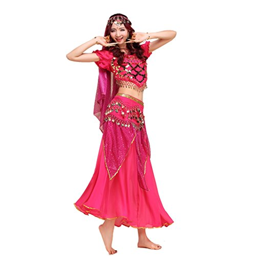Pilot-trade lady's Belly Dance Costume Indian Dance Shiny Bells Top Highlights Skirt Dark Pink (Dark Dance Costumes)
