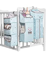 Diaper Caddy Hanging Crib Diaper Organizer - 3 in 1 Baby Diaper Hanging Organizer Detachable, Nursery Hanging Storage Bag Diaper Holder for Crib, Baby Accessories Stain Resistant, Washable