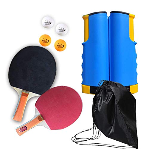 GGOODD Juego De Ping Pong Todo En Uno, Paquete Portatil De Tenis De Mesa, Profesional Juego De Raquetas De Tenis De Mesa Actividad Interesante para Jugar En Interiores O Exteriores,E
