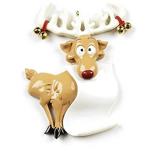 Personalized Reindeer Scroll Christmas Ornament - Cute Goofy Deer with Santa's Wish List Antler with Real Bells - Fun Christmoose Sign Moose Holiday Grand-Son Daughter Love Kid - Free ()