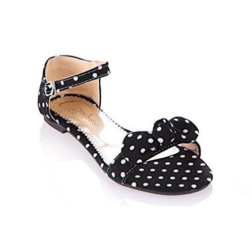 Transer® Damen Bogen Sandalen Stoff+Gummi Sommer Casual Schuh Strand Sandelholz (Bitte achten Sie auf die Größentabelle. Bitte eine Nummer größer bestellen. Vielen Dank!) Schwarz