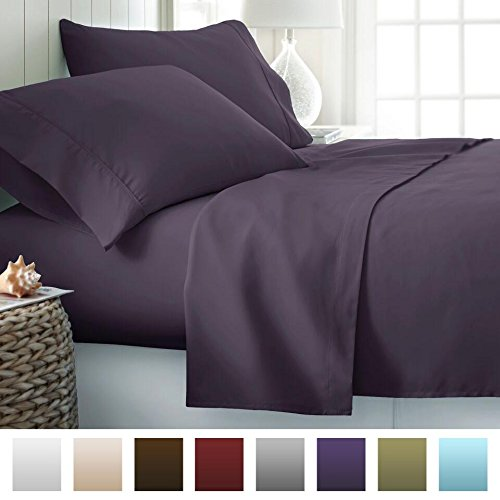 (Beckham Hotel Collection 1500 Series Luxury Soft Brushed Microfiber Bed Sheet Set Deep Pocket - Queen - Eggplant)