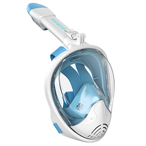 G2RISE SN01 Full Face Snorkel Mask with Detachable Snorkeling Mount, Anti-Fog and Foldable Design for Adults Kids (White Blue, L/XL)