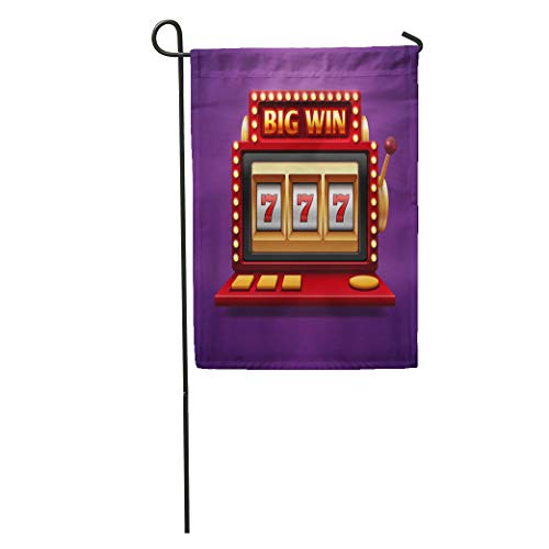 Semtomn Garden Flag Jackpot Slot Casino Machine One Arm Bandit for Lucky Seven Home Yard House Decor Barnner Outdoor Stand 28x40 Inches Flag ()
