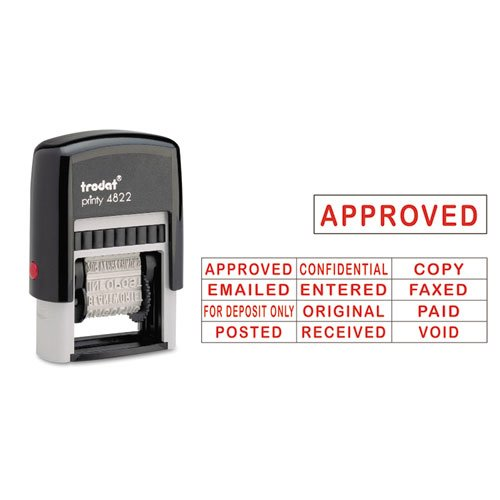 Trodat E4822 Self-Inking Stamps, 12-Message, Self-Inking, 1 1/4 x 3/8, Red by Trodat