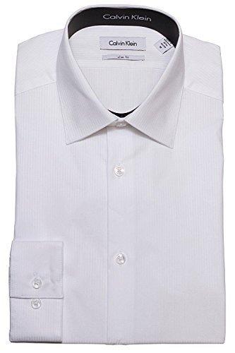Calvin Klein Tone/Tone Stripe Slim Fit 100% Cotton Solid Dress Shirt - 33T046 (15.5