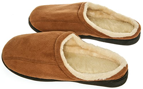 Mens Memory Foam Microsuede Slip-On House Slipper, Size 11-12 - Soft Wear Resistant Microsuede - Slip Resistant Durable Rubber Sole - Warm Cozy Wool Fleece Lining - Mens Slippers, Camel Brown