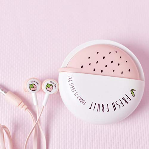 QearFun Candy Color Wired Cute Fruit Earbuds with Earphone Case with Mic Hands-Free (Pink)