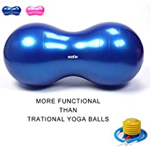 Wekin Physio Roll Therapy Fitness Exercise Peanut Ball with Pump/best for Balance & Coordinate Development,Extra Thick,best for Home Exercise Programme