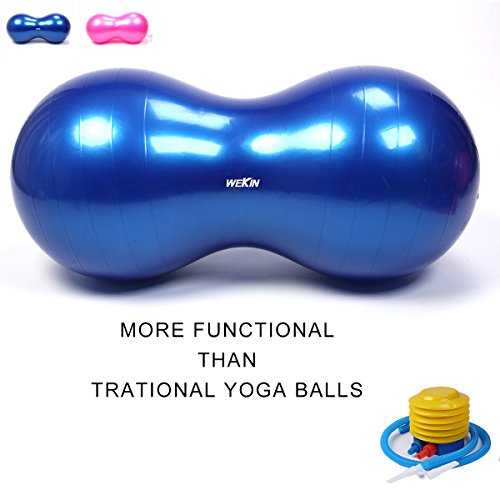 Wekin Physio Roll Therapy Fitness Exercise Peanut Ball with Pump/Best for Balance & Coordinate Development,Extra Thick,Best for Home Exercise & Yoga Programme Size 45x90cm&50x100cm
