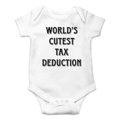 (AW Fashions World's Cutest Tax Deduction Cute Novelty Funny Infant One-Piece Baby Bodysuit (Newborn, White))