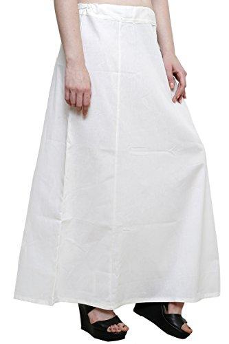 Readymade de algodón de las mujeres indio inskirt Saree petticoats enaguas–talla única Off White