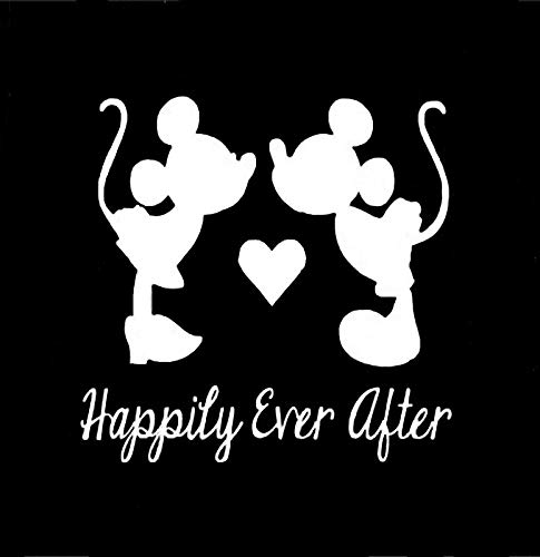 - Happily Ever After Mickey Minnie NOK Decal Vinyl Sticker |Cars Trucks Vans Walls Laptop|White|5.5 x 5.5 in|NOK030