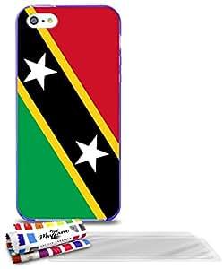 """Carcasa Flexible Ultra-Slim APPLE IPHONE 5 de exclusivo motivo [Bandera Kitts y Nevis Santo] [Violeta] de MUZZANO  + 3 Pelliculas de Pantalla """"UltraClear"""" + ESTILETE y PAÑO MUZZANO REGALADOS - La Protección Antigolpes ULTIMA, ELEGANTE Y DURADERA para su APPLE IPHONE 5"""