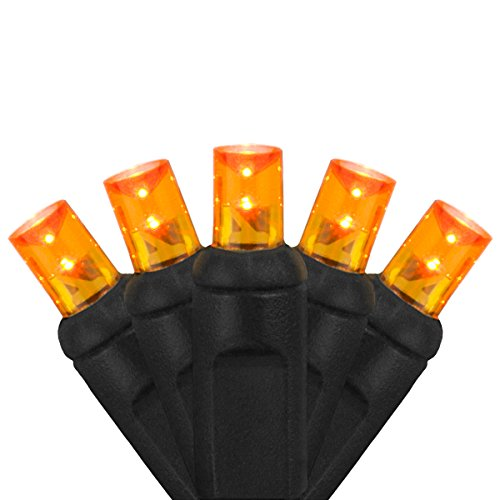 Wintergreen Lighting LED Amber/Orange Halloween Mini Light Set, 70 5mm Lights, Indoor/Outdoor Halloween Light Decorations, 120V UL Certified, Black Wire