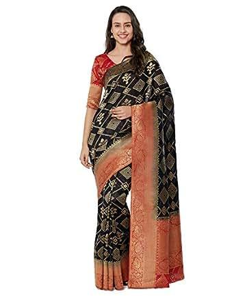 Viva N Diva Sarees for Women's Banarasi Kanchivaram Silk Black Saree with Un-Stiched Blouse Piece,Free Size
