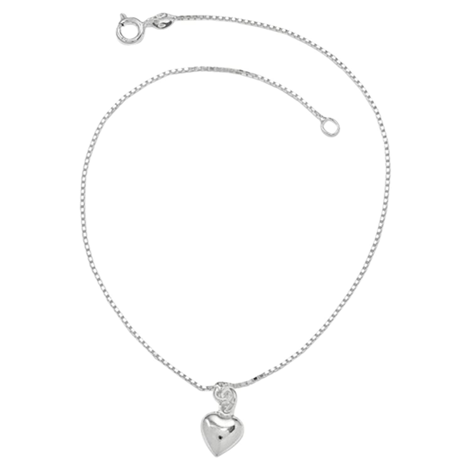 .925 Sterling Silver 1.00MM 3-Dimensional Puffed Heart Anklet Bracelet, 10 Inches